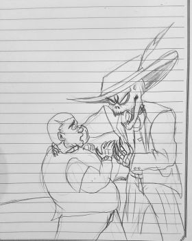 Gangster Skeleton angry at his boss grandson by ryuu-samazx
