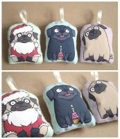 Pug Ornaments 2 by creaturekebab