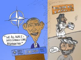 Obama NATO and the Taliban by optionsclickblogart