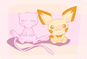 Pichu and Mew by Prier-chan