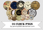 [Resources] 16 Clock PNGs - Pack 1 by jemmy2000