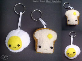 Eggie + Toast Plush Keychains by CaitxxSith