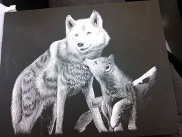 Wolf mom and pup by Bloodstreak93