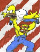 Simpsons Wrestling by artattack666