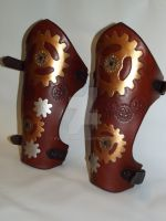 Steampunk Leather Bracers - side(ish) view by rwolf1970