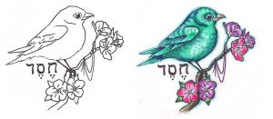 Freebies Bird Branch Tattoo Design by TattooSavage