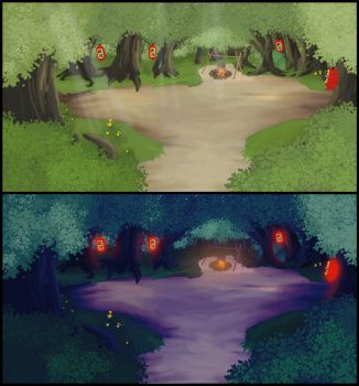 Open Forest Concept - Day and Night by VAFIS