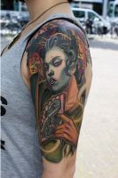 geisha halfsleeve by tattooneos