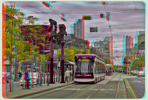 Spadina Avenue around China Town Anaglyph 3-D HDR by zour
