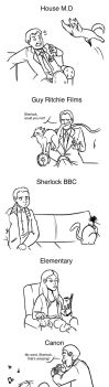 Sherlock(s) as Cats by DeathByBacon