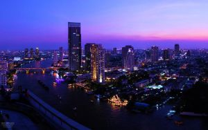 Bangkok during Blue Hour by nxxos
