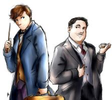 Newt Scamander and Jacob Kowalski by Smudgeandfrank