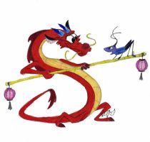 Mushu and Crikee by dragonghosthalfa