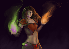 Aulena - Blood Elf Warlock by Ambersprite
