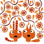 Rabbit and fox and autumnal flowers by nicolas-gouny-art