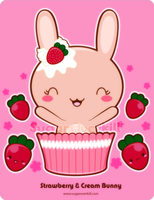 Strawberry and Cream Bunny by mAi2x-chan