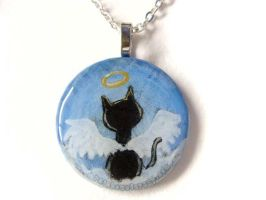 Black Cat Angel - Pendant Necklace by sobeyondthis