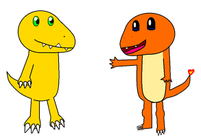 Agumon and Charmander by PikachuFan60