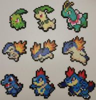 Pokemon Gold and Silver Starters Perlers by jrfromdallas
