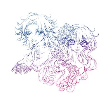 fiore and saja... sketch by sureya