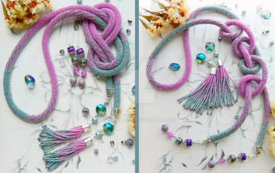 Silver-lilac necklace (2 pair of brushes) by Vorona-hm