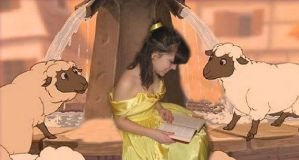 belle reading to sheep by ProtectorKorii
