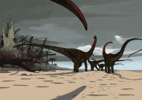 Diploducus walking at the beach by pietro-ant