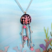 New Pink Crackle Jellyfish by HoneyCatJewelry