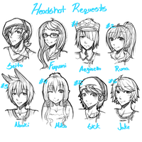6 Sketch Headshot Requets by xxxRinRulesxxx