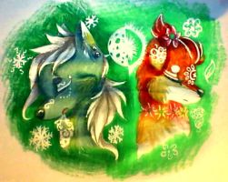Winter and Summer-Moon and Sun by misty-paws