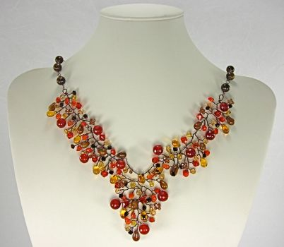 Autumn Cluster Necklace 2 by Lady-Blue