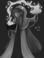 Touhou - Touhouvania Patchouli (grayscale) by Shadow-of-Mysteries