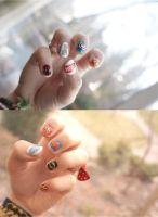 Marvel vs DC nails by SoraAkihiru