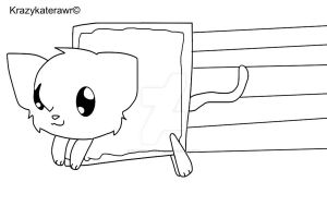 Chibi Nyan Cat Lineart by krazykaterawr
