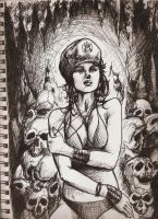 Girl and skulls by freaky7styley