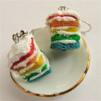 Rainbow cake earrings by MotherMayIjewelry