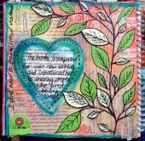 The Books Transported Her - Art Journal Page by ambermariaalice