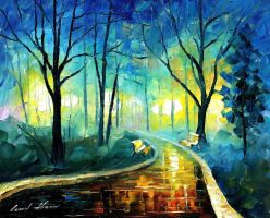 Blue Fog by Leonid Afremov by Leonidafremov