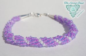 Beaded Spiral Weave Rope Bracelet, Blue/pink lined by TheSortedBead
