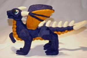 Navy Blue Needle Felted Dragon by The-GoblinQueen