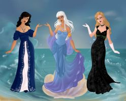Atlantis Girls: Deluxe Gowns by ajhistoric2