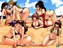 COMMISSION : Dead or Alive Beach Harem by jadenkaiba