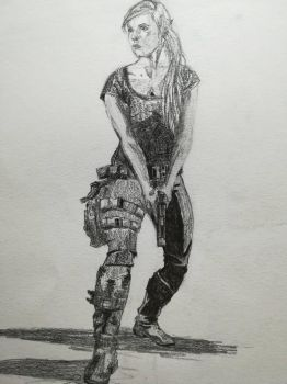 Figure drawing of armed woman by Andrix9743