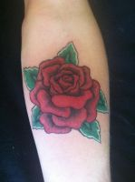 Traditional rose tattoo by clearfishink