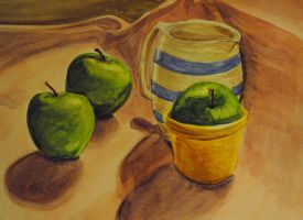 Watercolor Study-Green Apples by new-moon-night