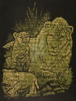Scratchboard Lion and Cubs by GoodGirl-BadGirl