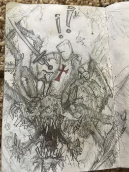 Spider demon thing with guy and a sword fightin' by Dil-Relevart