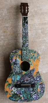 Hand Painted Guitar by AKOrganicAbstracts
