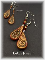 Red magic swirl earrings by Shatiel85
