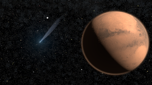 Mars and Comet Siding Spring by manabrau